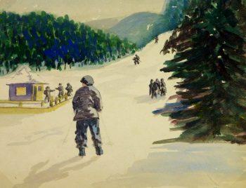 Watercolor - Skiing Alpine Ridge-main-8084k