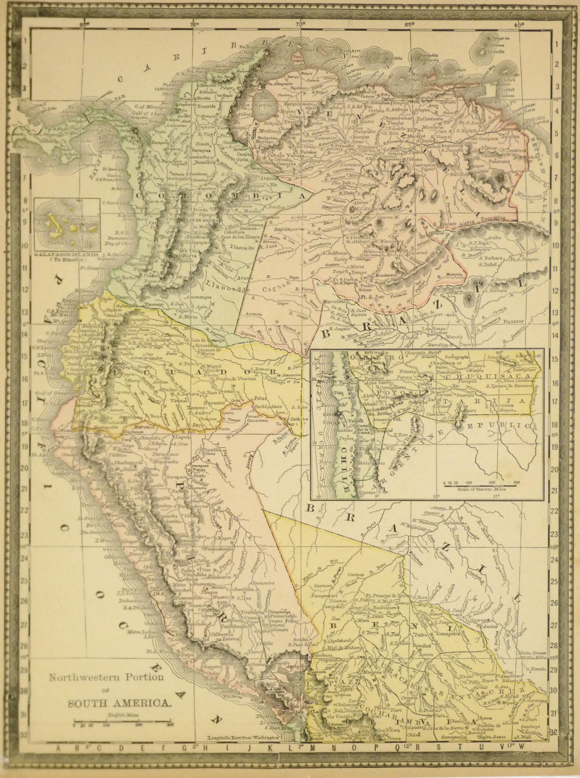 Northern South America 1890 Original Art Antique Maps Prints