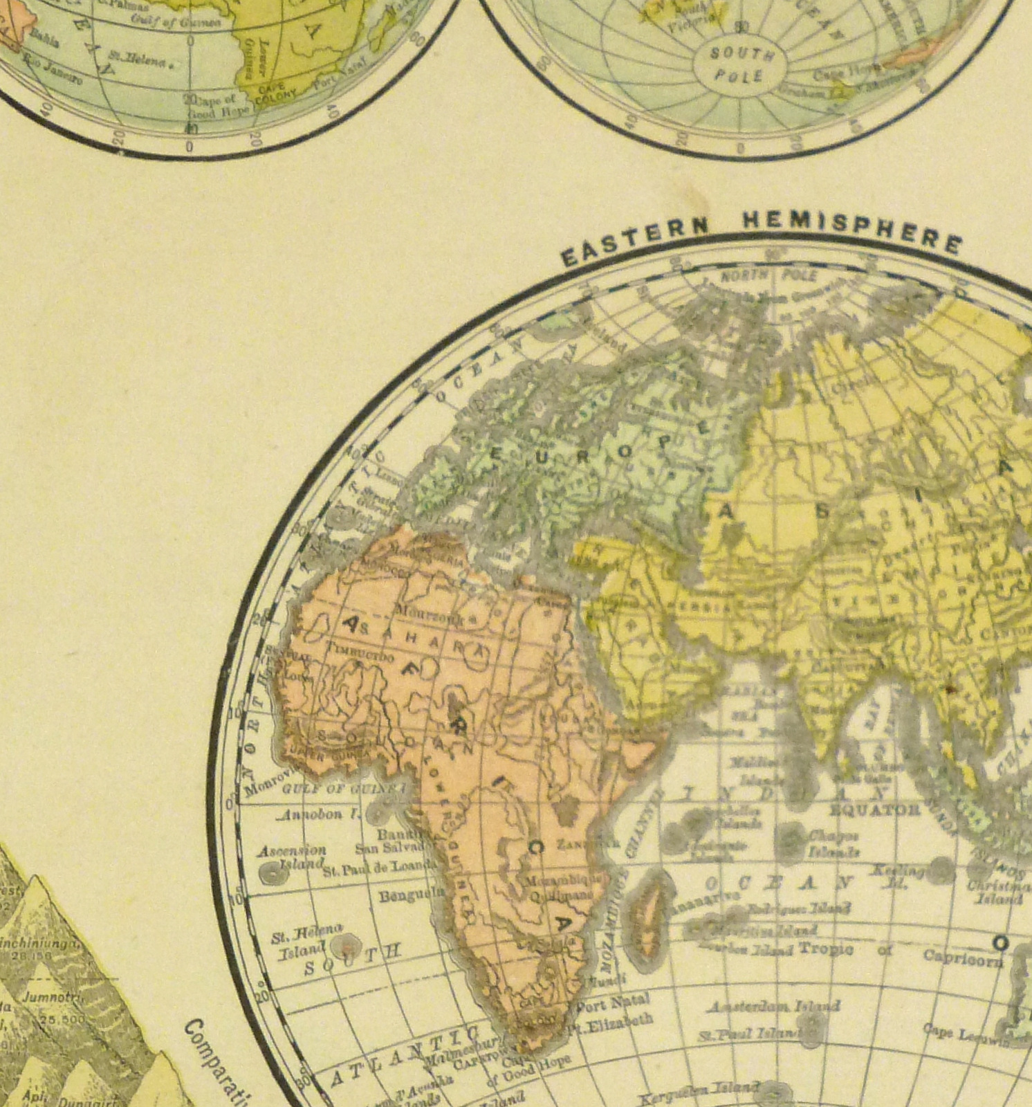 1890 World Map.World Hemisphere Map 1890 Original Art Antique Maps Prints