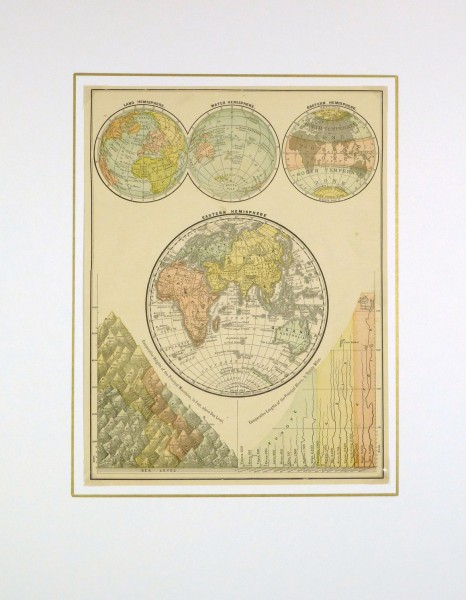 World Hemisphere Map, 1890-matted-8198K