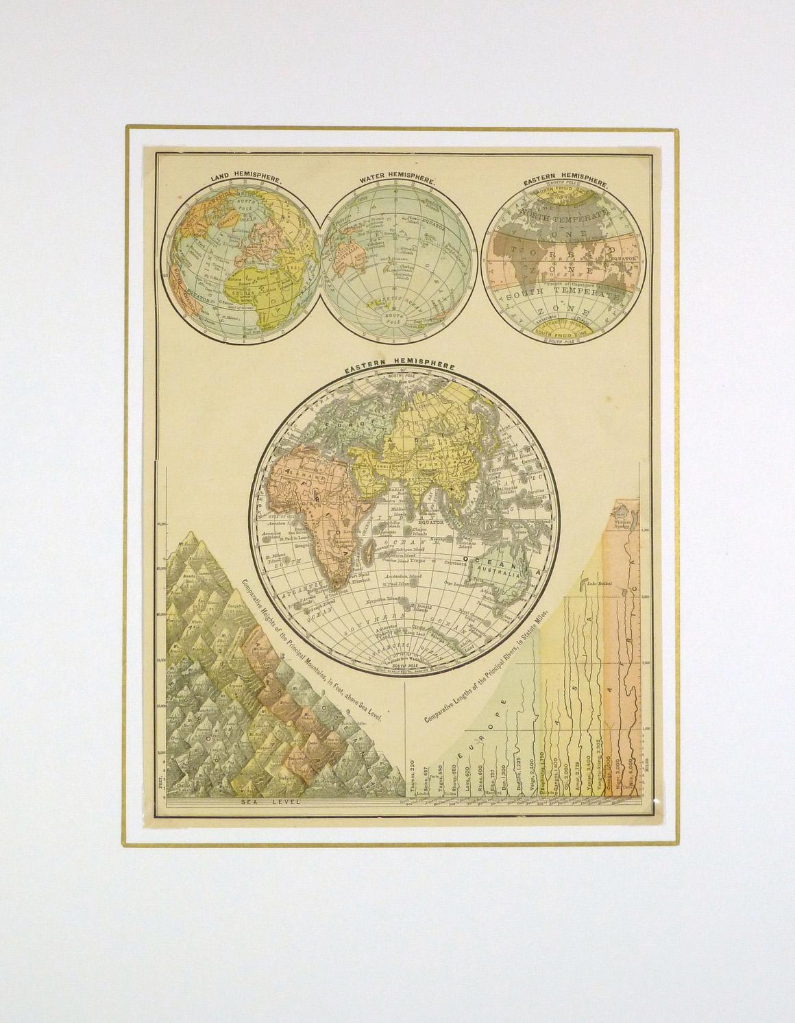 World Hemisphere Map, 1890-matted-8198K