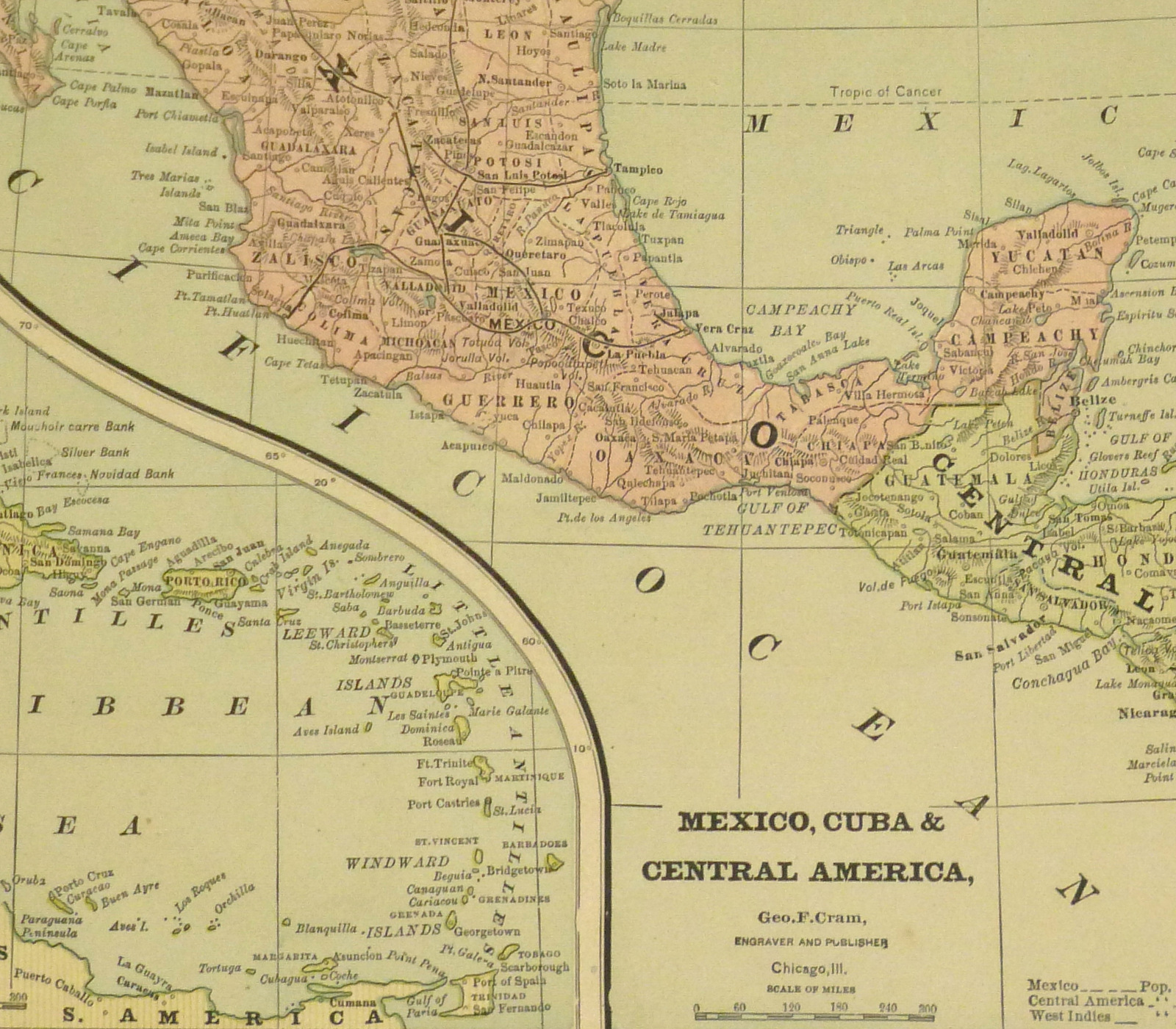 Mexico Cuba  Central America Map  Original Art Antique - America map chicago