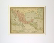 Mexico, Cuba & Central America Map, 1890-matted-8202K