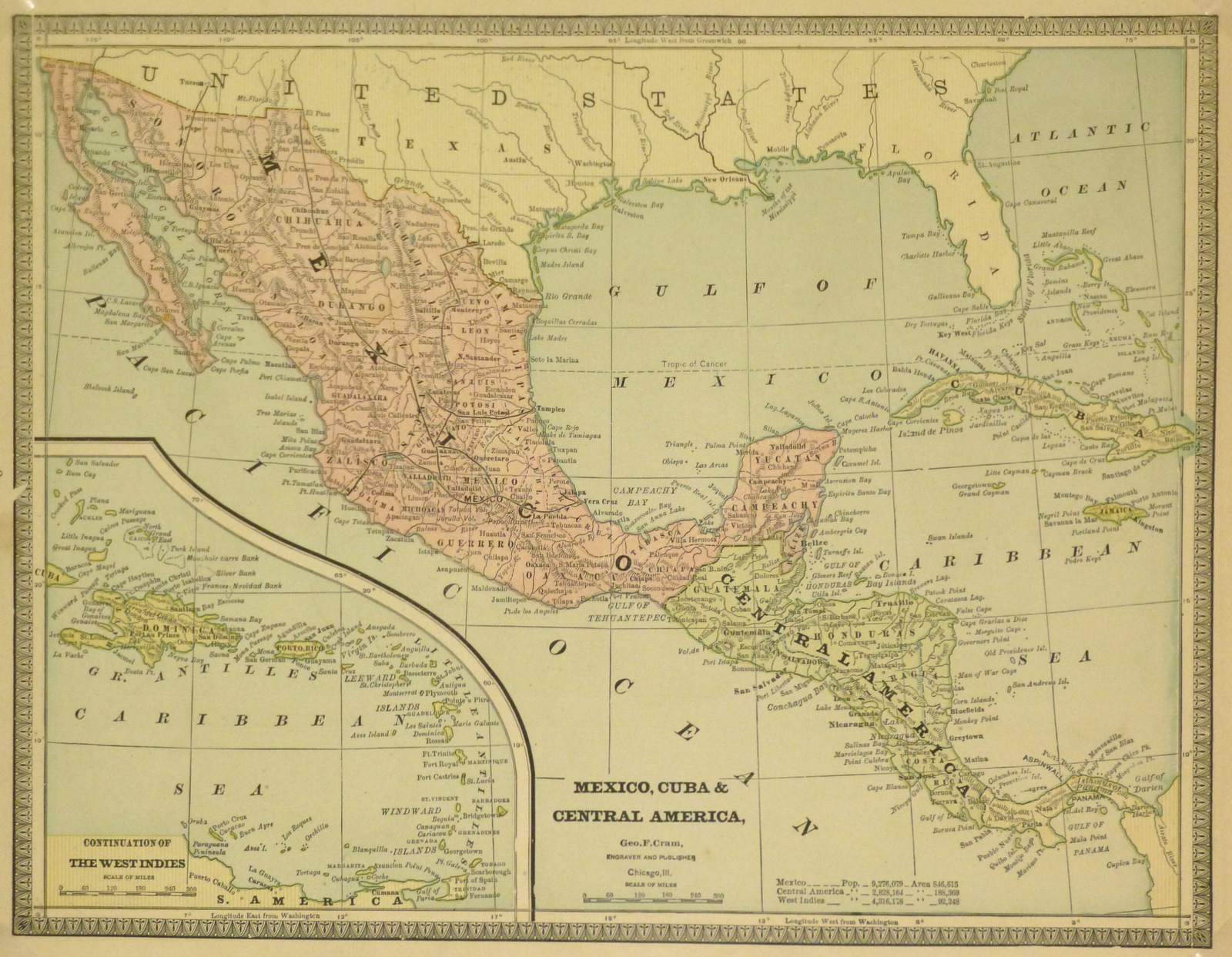 Mexico Cuba Central America Map 1890 Original Art Antique