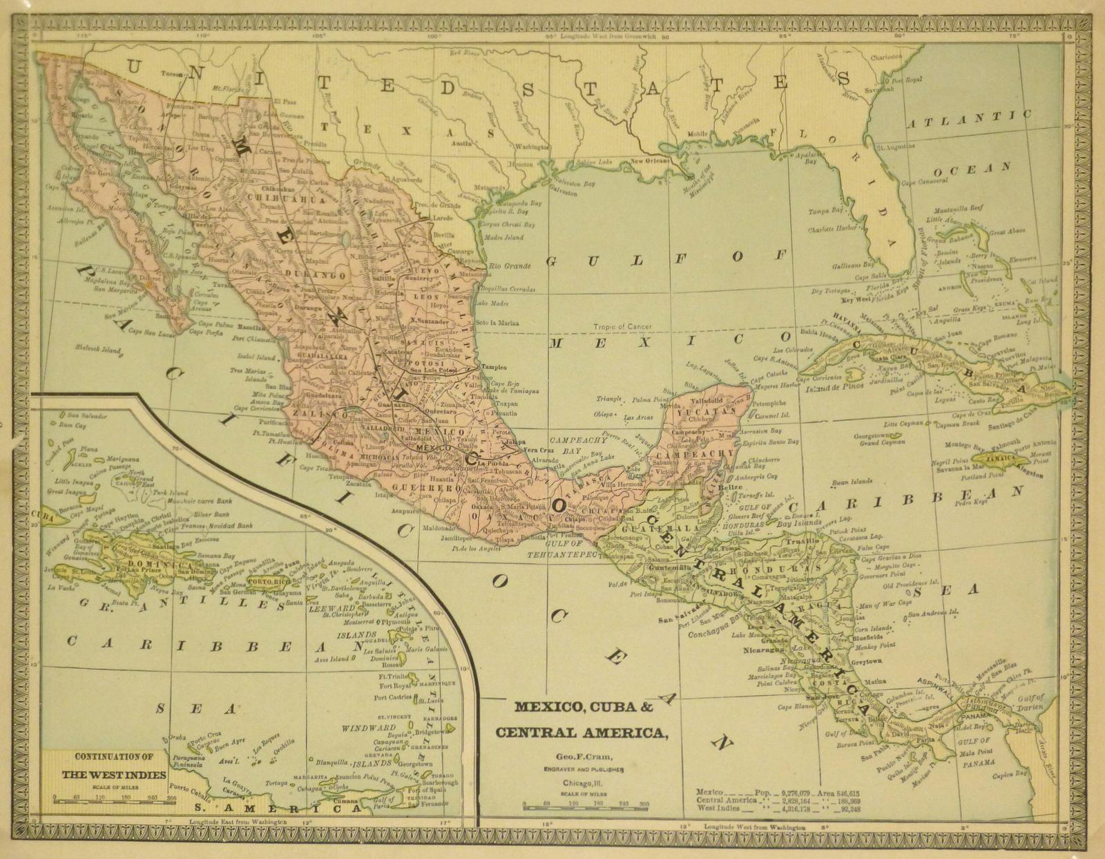Mexico, Cuba & Central America Map, 1890-main-8202K