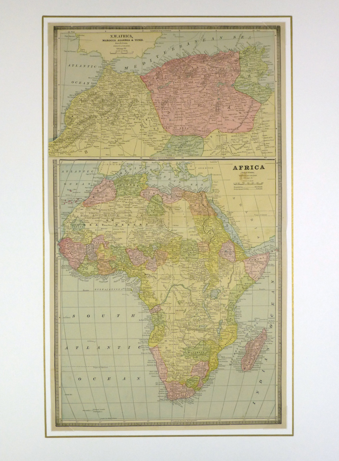 Africa And North Africa Map 1890 Original Art Antique