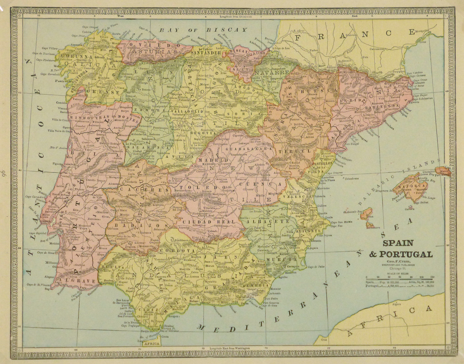 Map Of Spain Mountains.Spain Portugal 1890