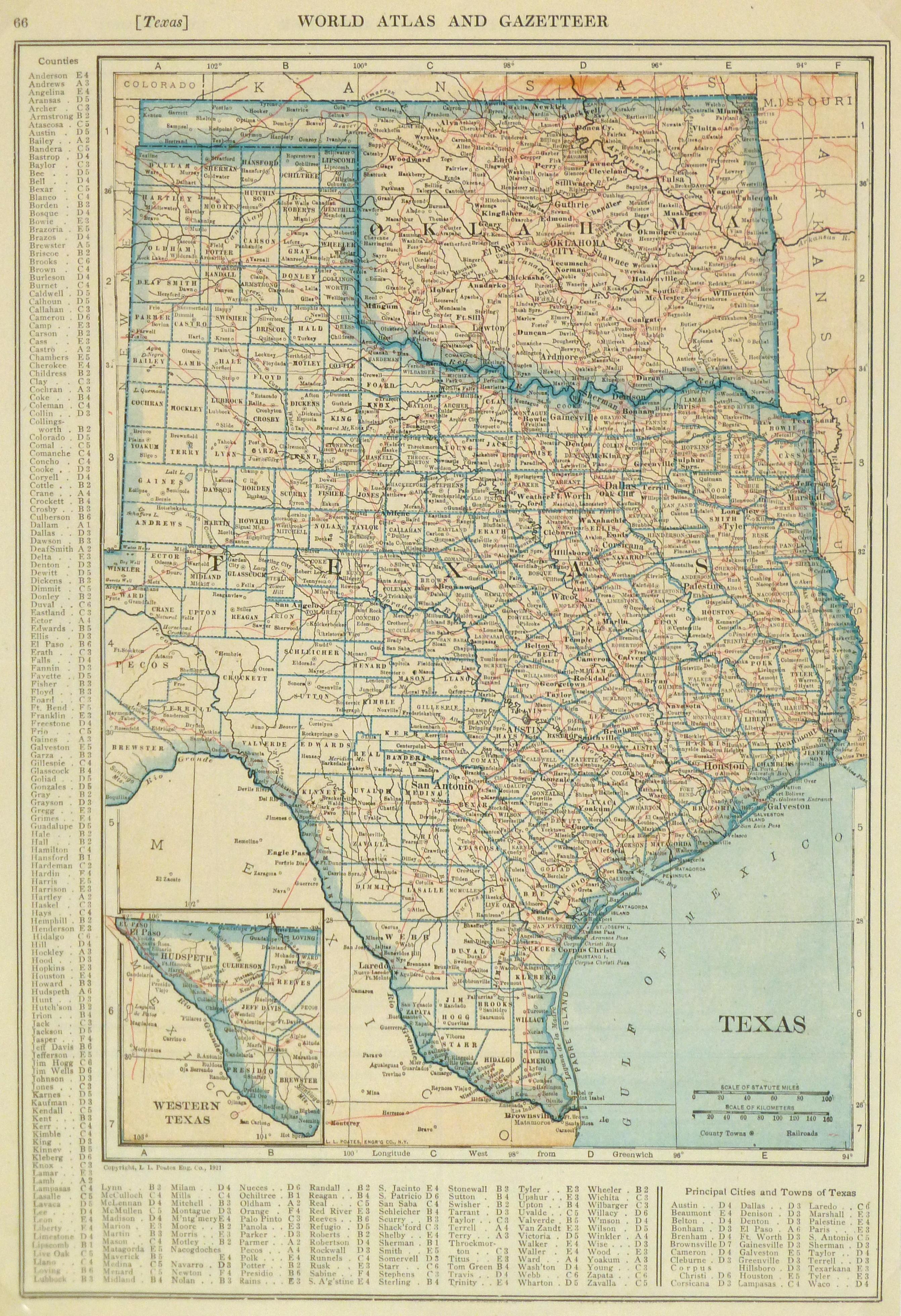 Texas & Oklahoma Map, 1921