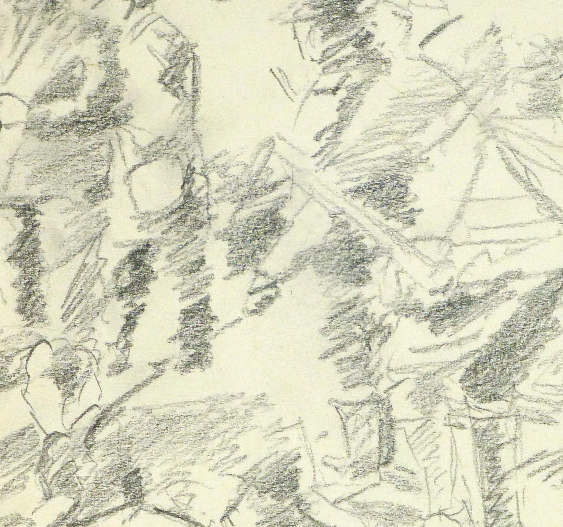 Drawing - Hunting Scene, Circa 1960-detail-8317K