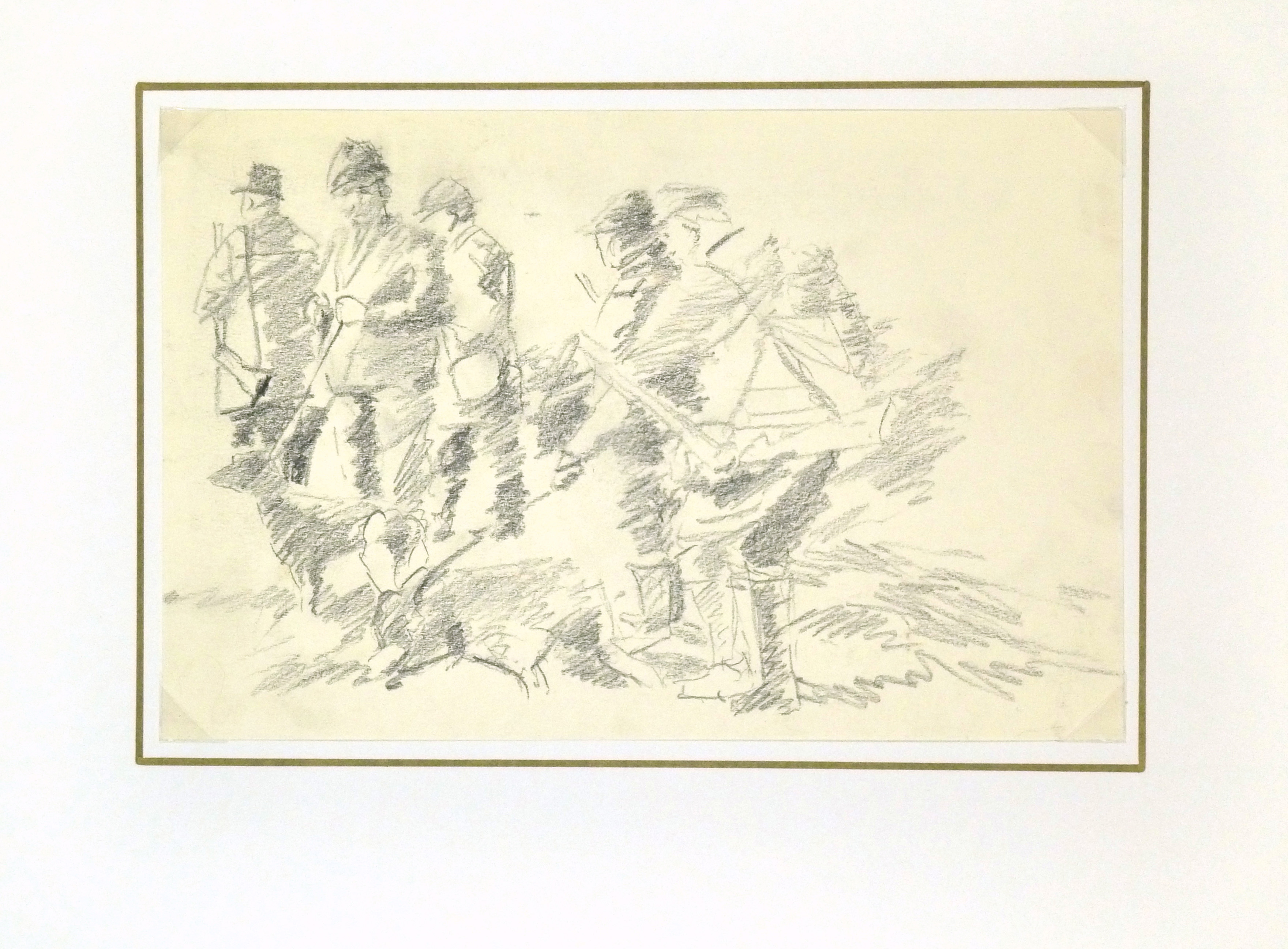 Drawing - Hunting Scene, Circa 1960-matted-8317K