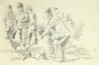Drawing - Hunting Scene, Circa 1960-main-8317K