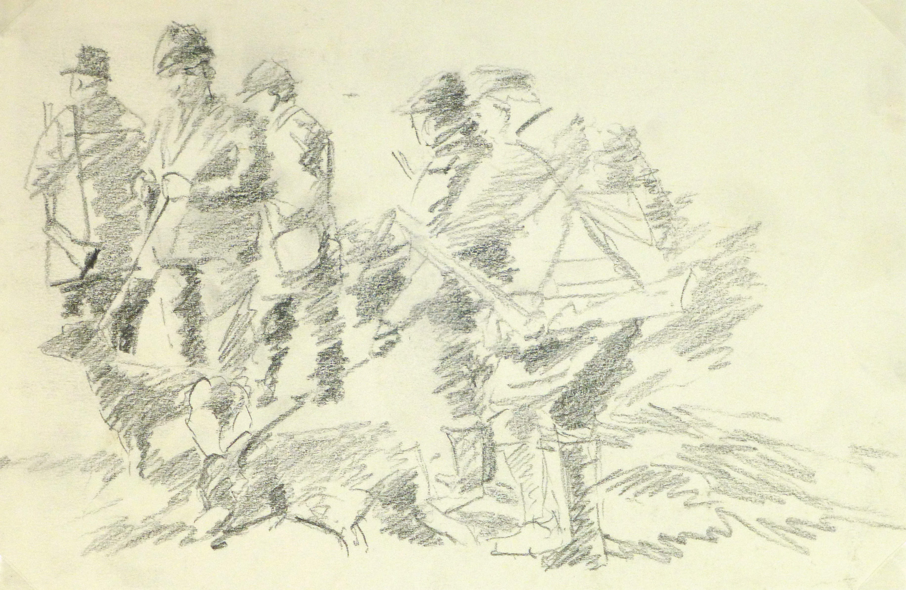 Drawing - Hunting Scene, Circa 1960-main-8317K