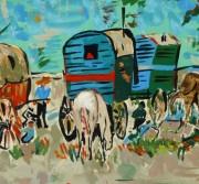 Gouache Landscape - Gypsy Caravans, Circa 1950-detail-8424K