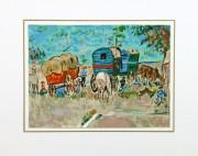 Gouache Landscape - Gypsy Caravans, Circa 1950-matted-8424K