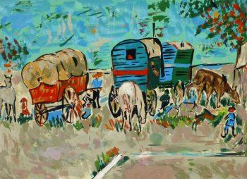 Gouache Landscape - Gypsy Caravans, Circa 1950-main-8424K