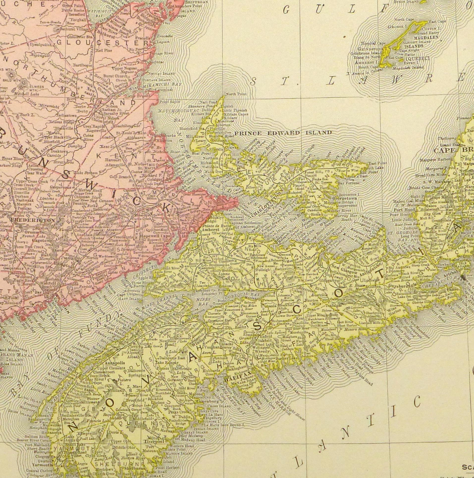Maritime Provinces, Canada Map, 1895-detail-8553K