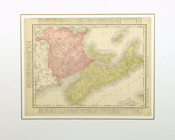 Maritime Provinces, Canada Map, 1895-matted-8553K