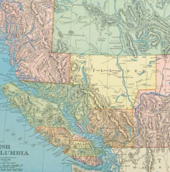 British Columbia, Canada Map, 1895-detail-8554K