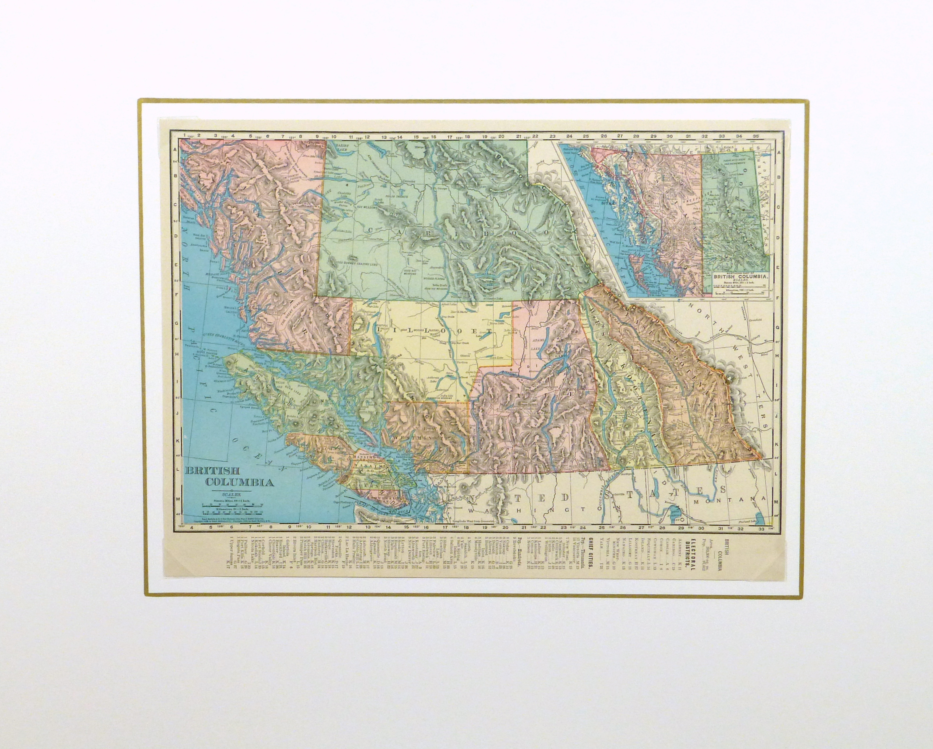British Columbia, Canada Map, 1895-matted-8554K