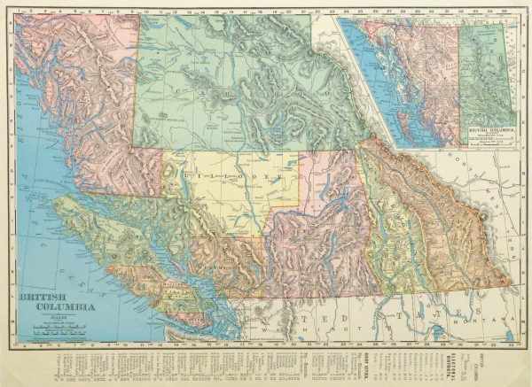 British Columbia, Canada Map, 1895-main-8554K