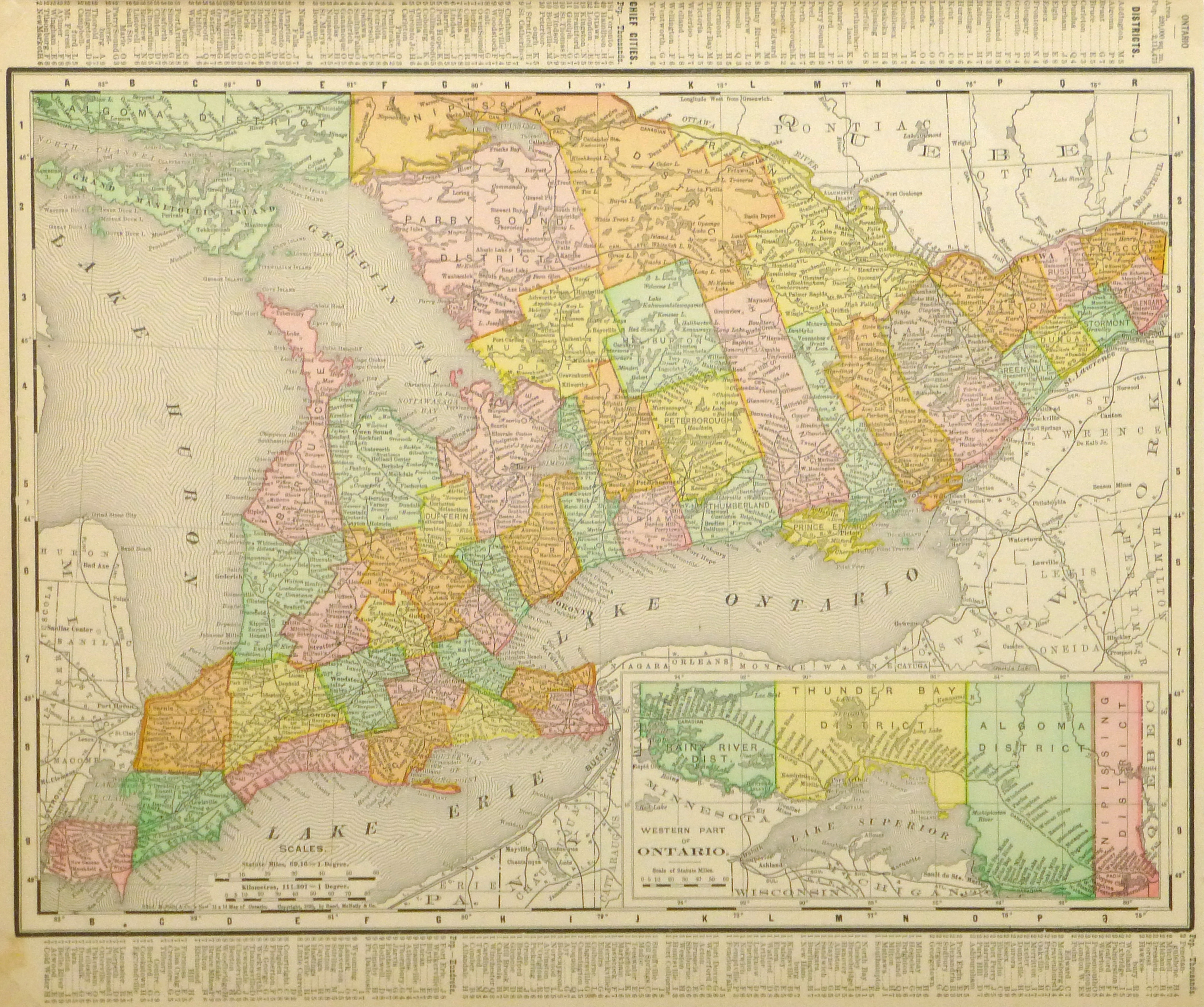 Ontario Canada Map Original Art Antique Maps Prints - Ontario canada map