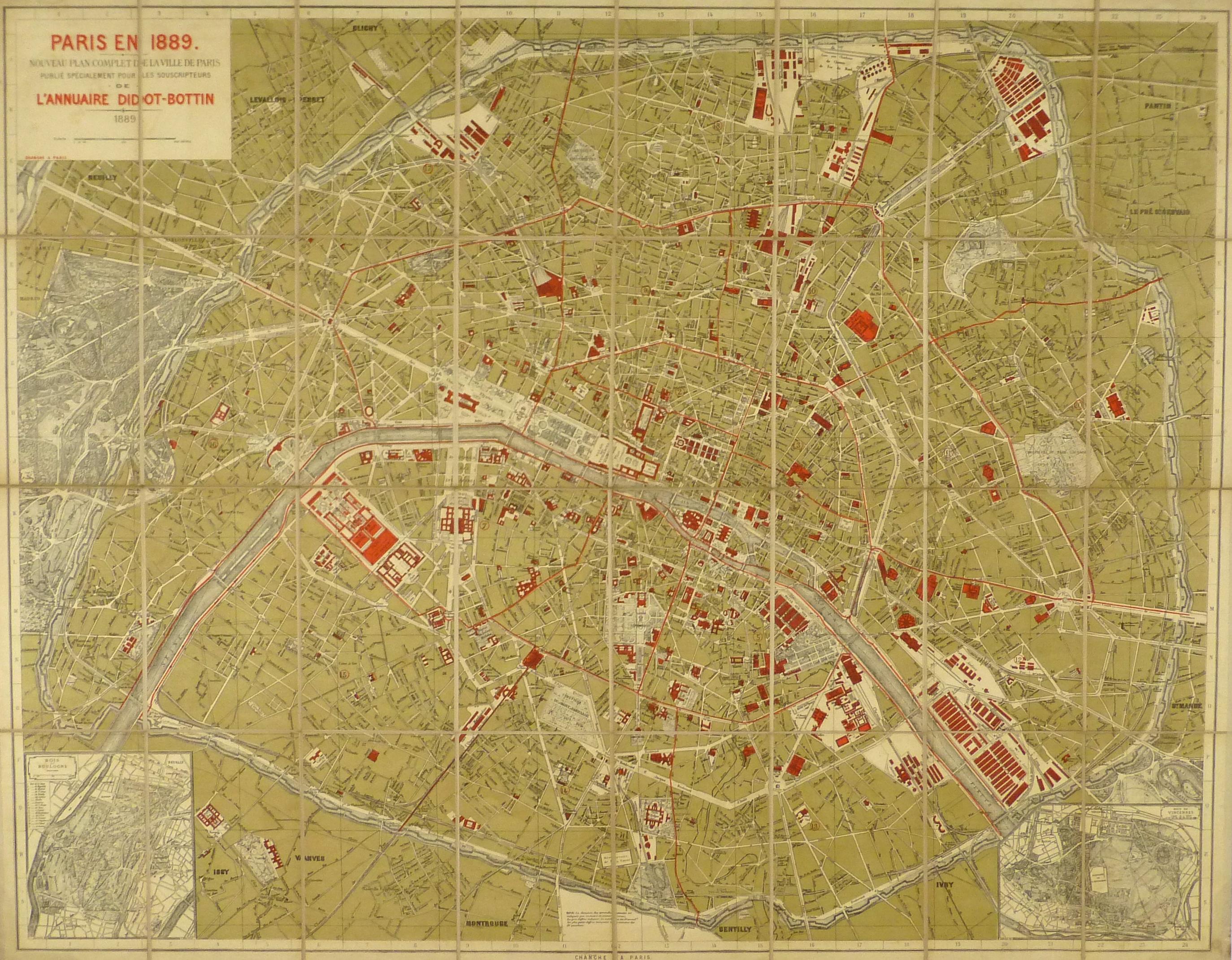 Paris World Fair Map, 1889 - Original Art, Antique Maps & Prints