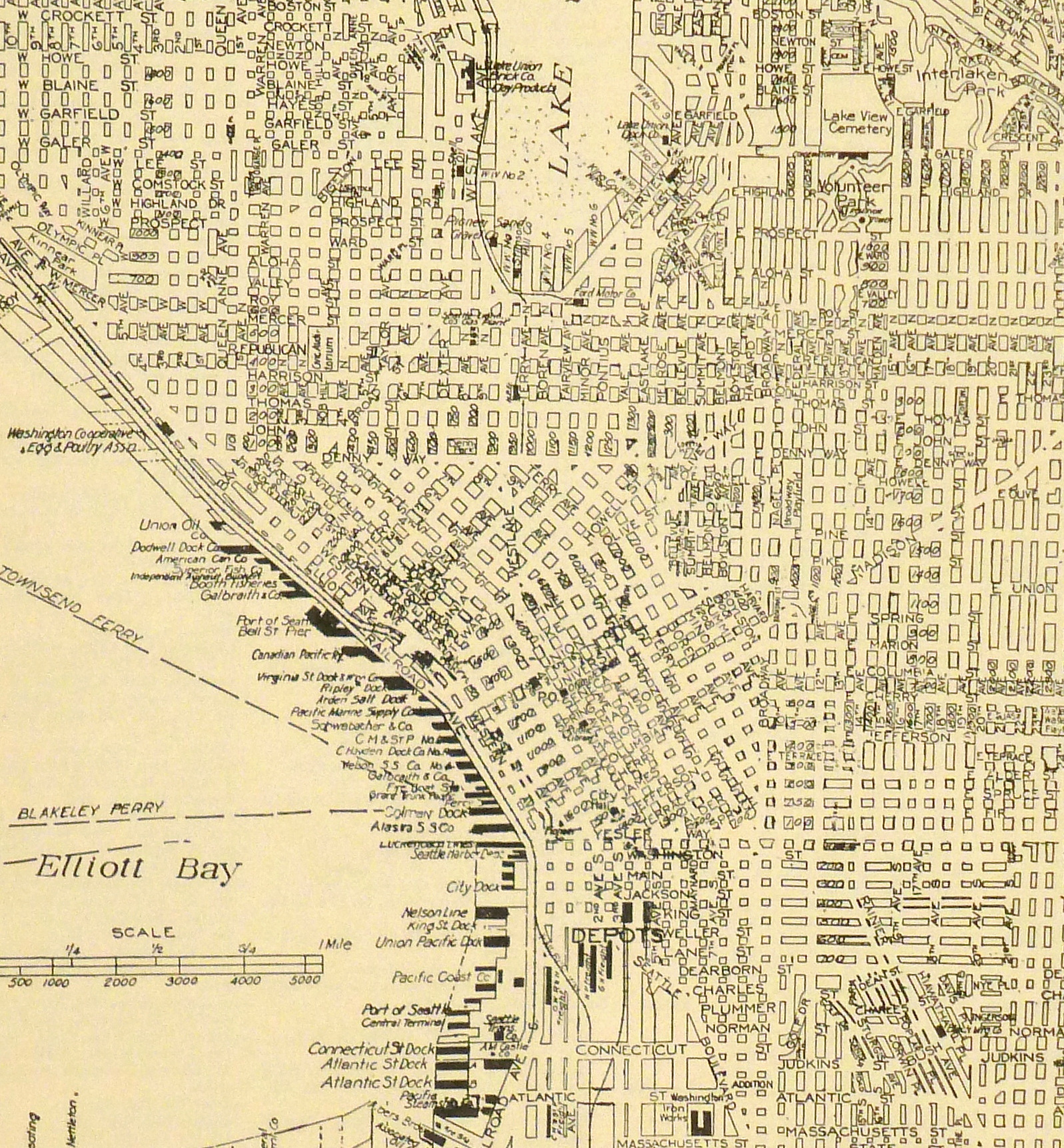 Central Seattle Map, 1937-detail-8673K