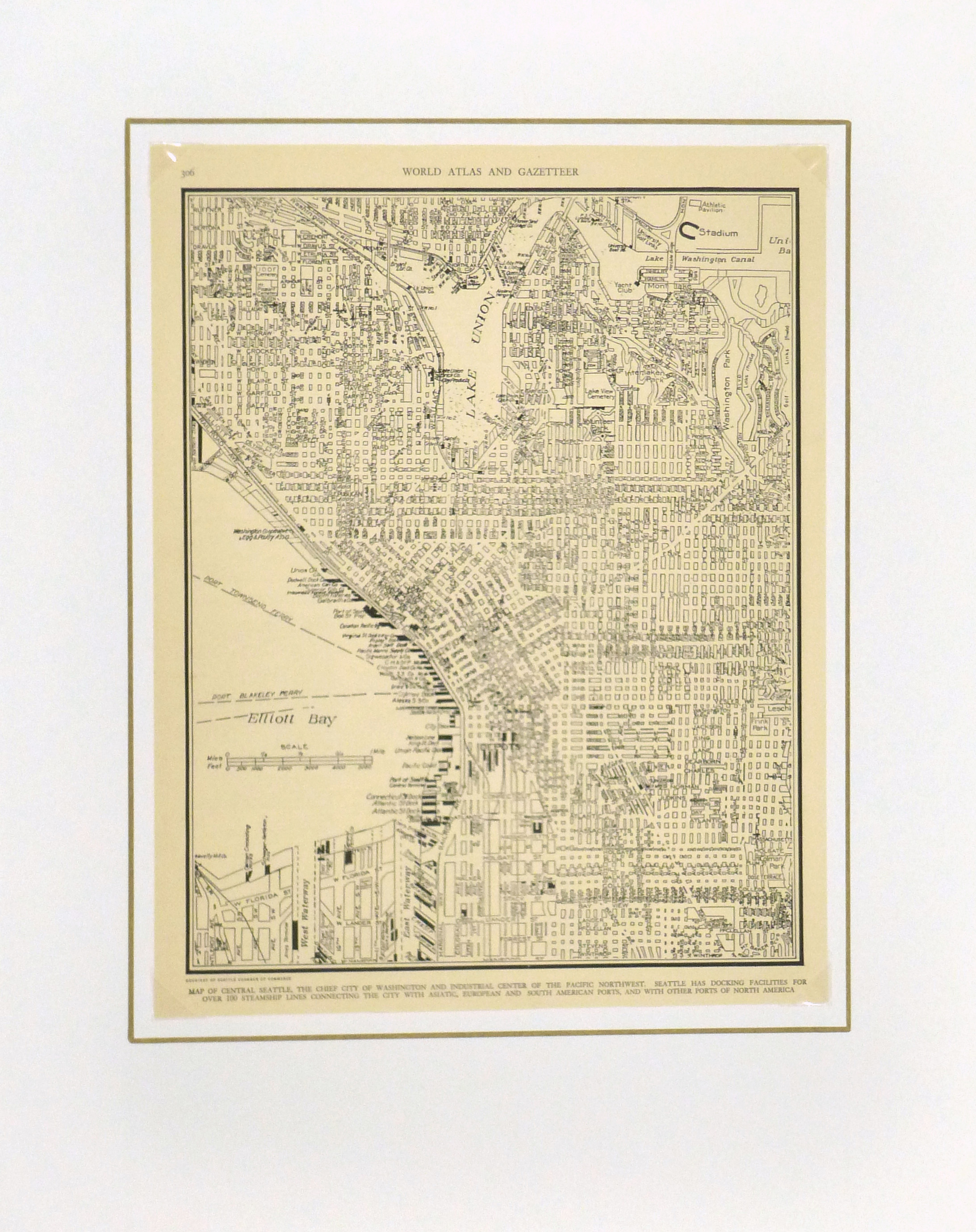 Central Seattle Map, 1937-matted-8673K