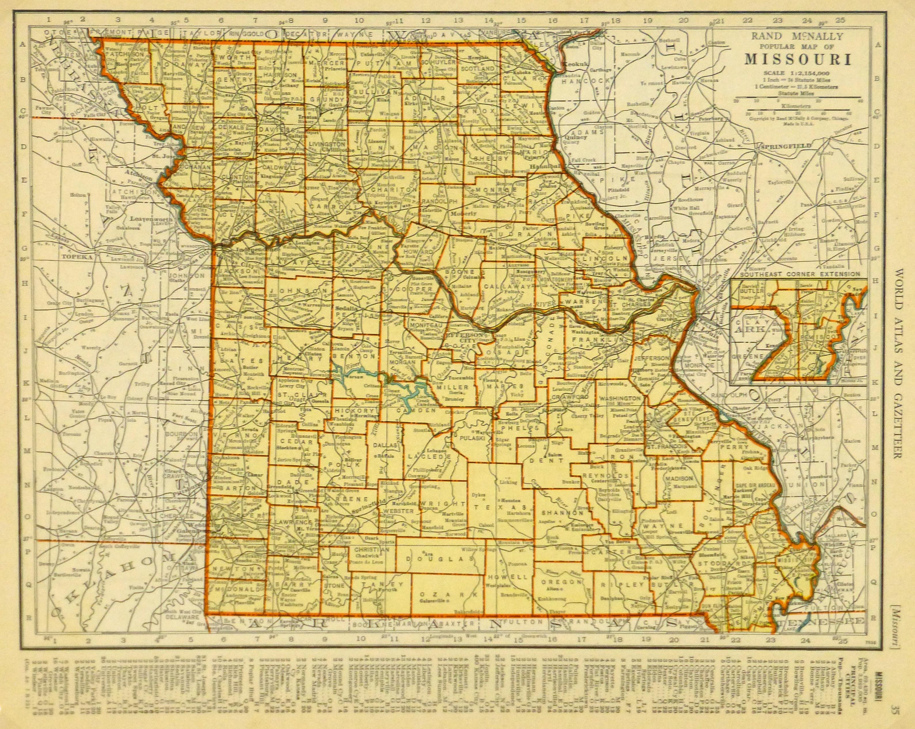 Map of Missouri, 1937-main-8705K