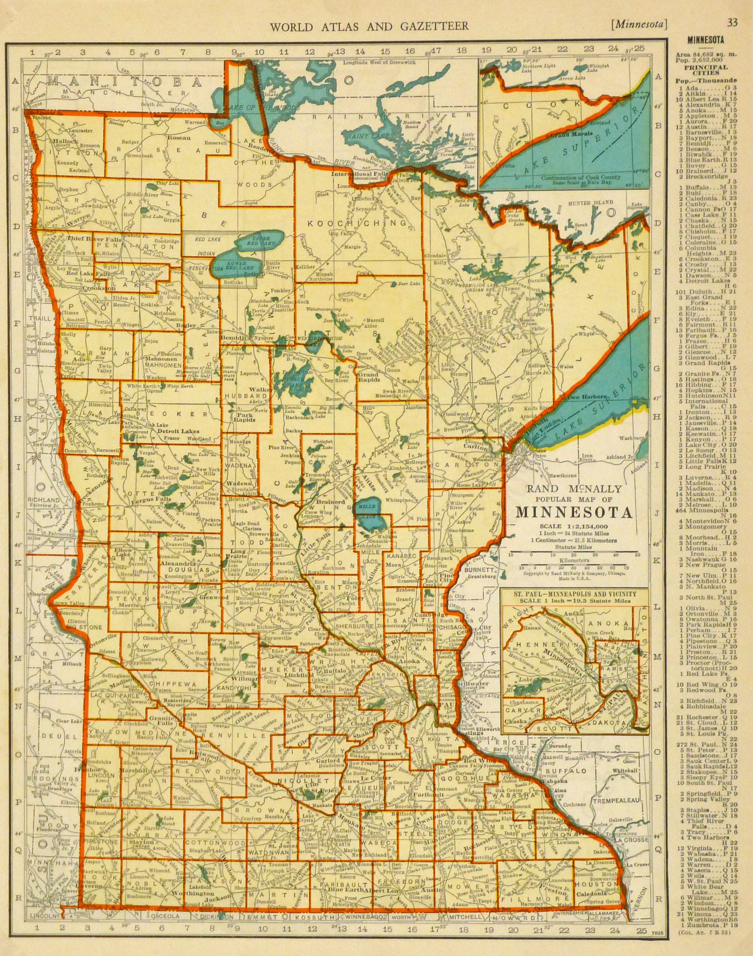 Map of Minnesota, 1937-main-8706K
