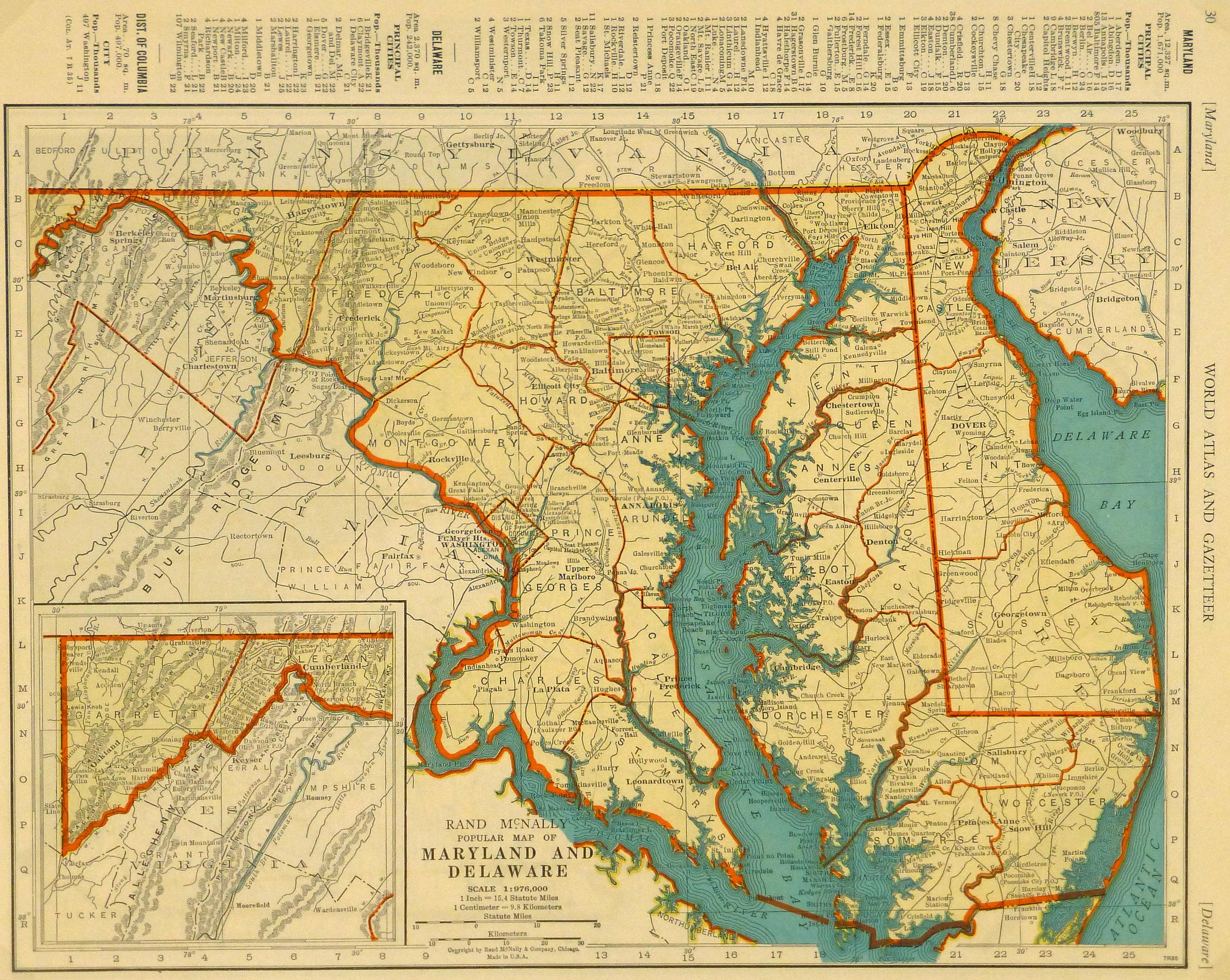 Map of Maryland & Delaware, 1937 - Original Art, Antique Maps & Prints