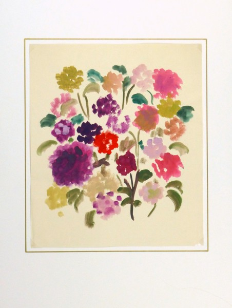 Acrylic Still-Life- Field Flowers, Circa 1960-matted-8744K
