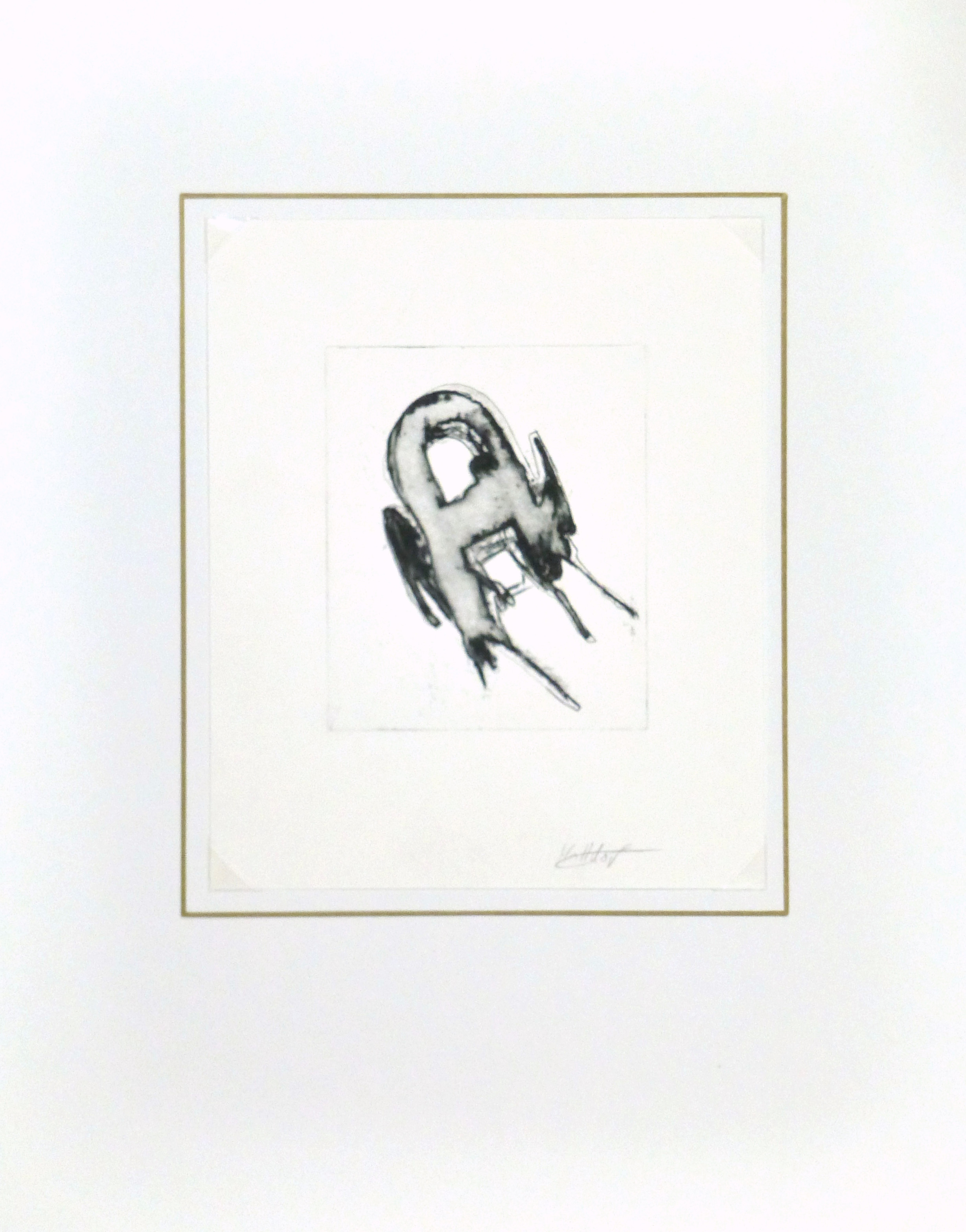 Modern Abstract Engraving-matted-8745K
