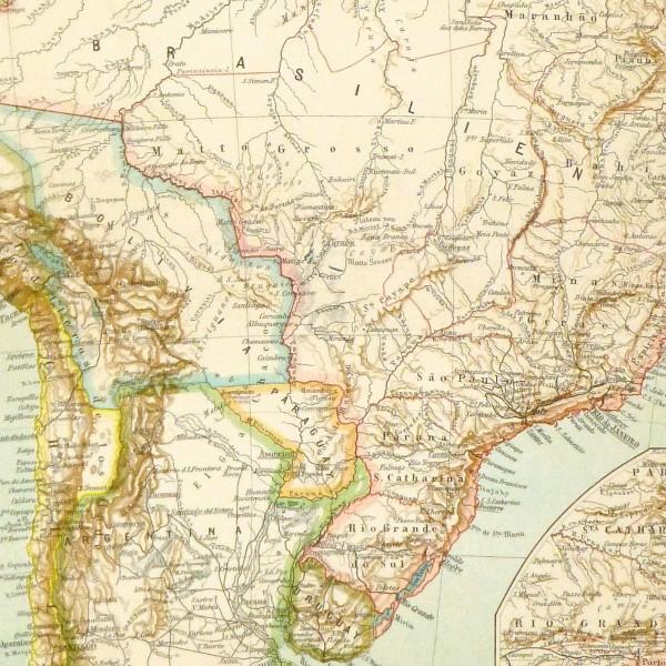 Brazil Map, Circa 1880-detail-8808K