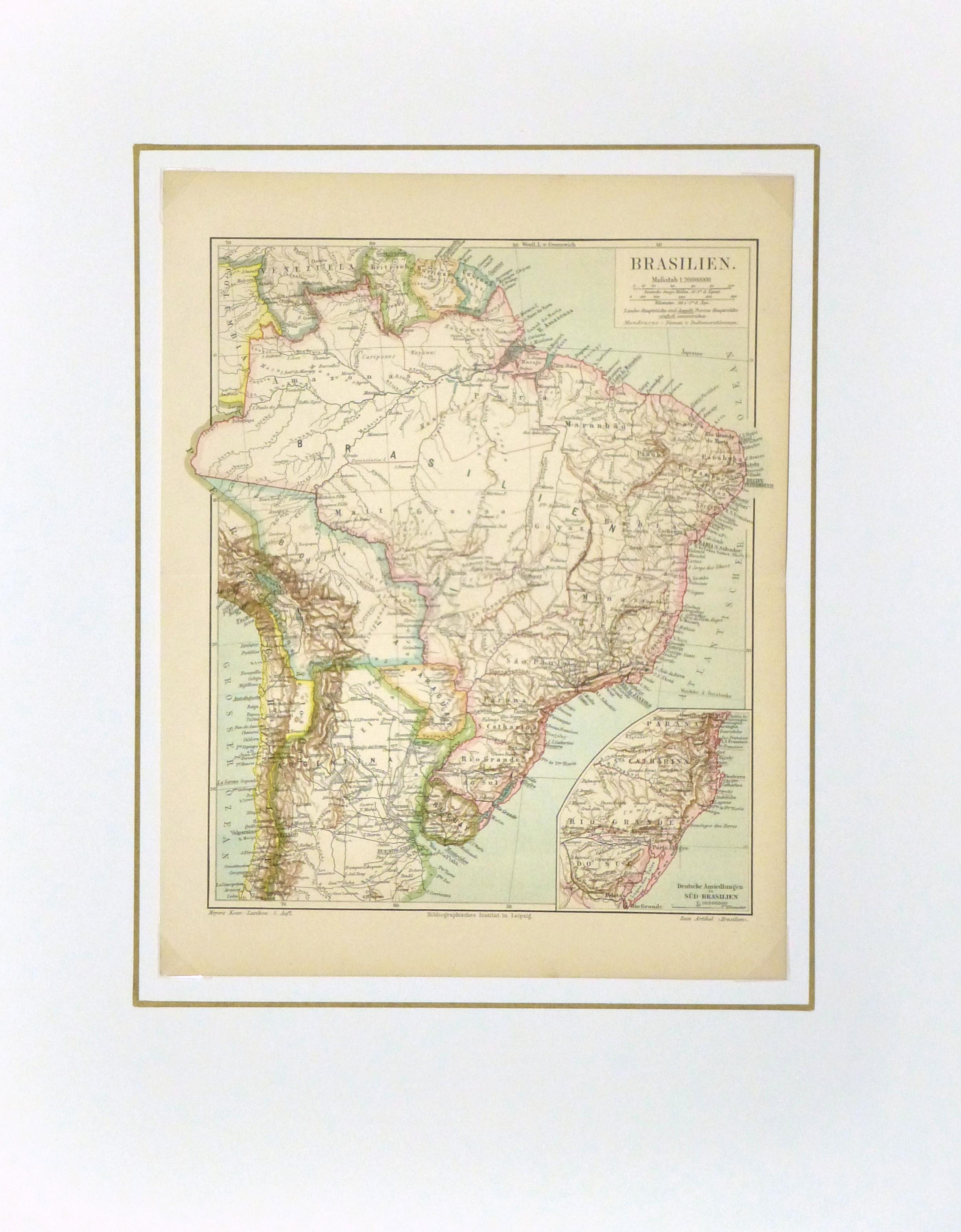 Brazil Map, Circa 1880-matted-8808K