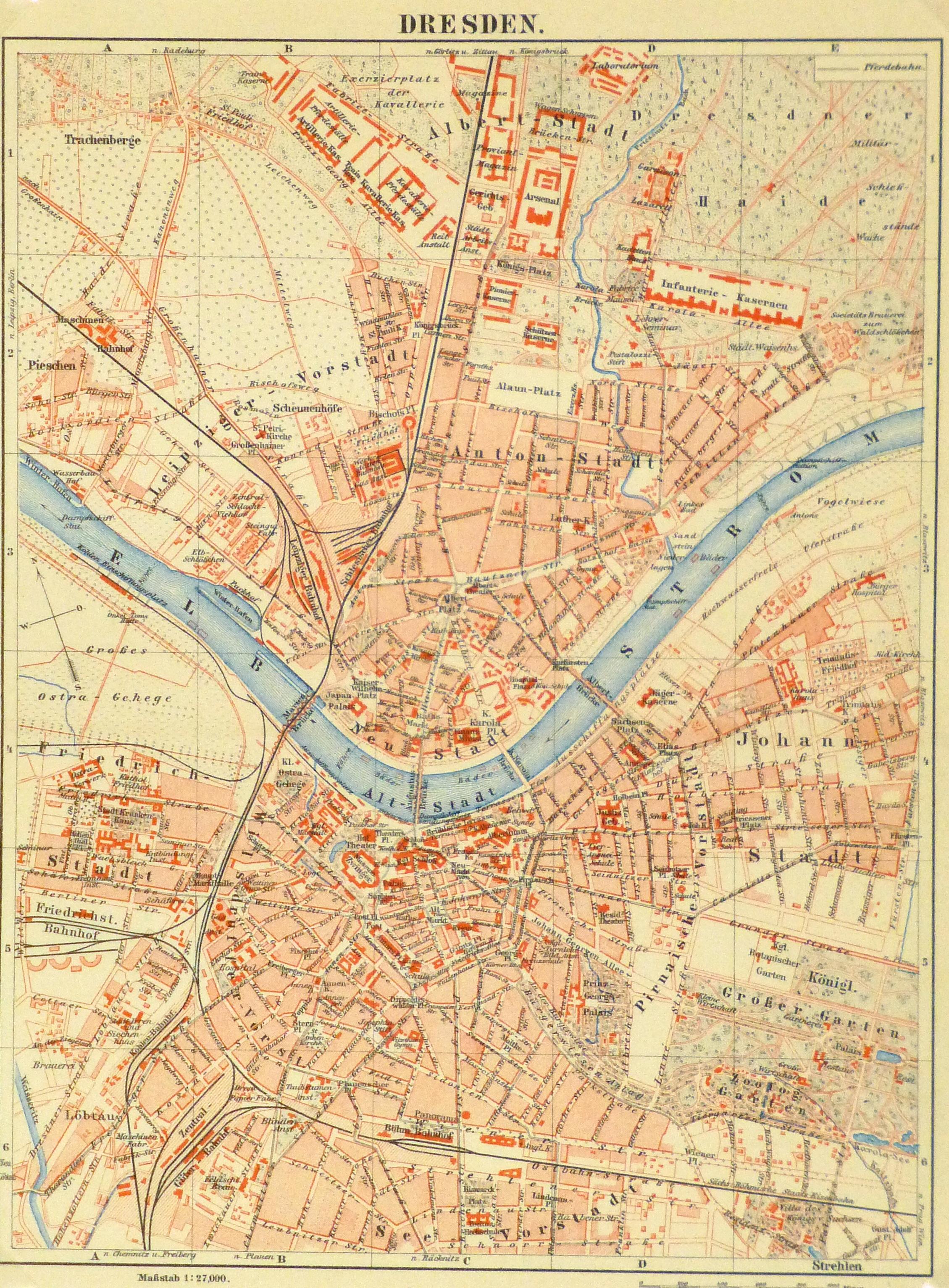 Map of Dresden Germany, Circa 1885-main-8816K