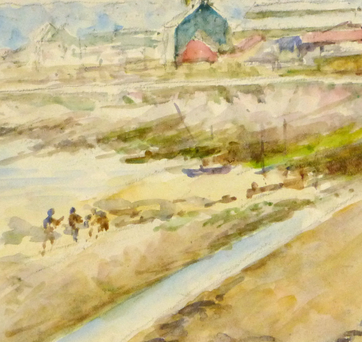 Watercolor Landscape - Beachside Town, Circa 1930-detail 2-8894K