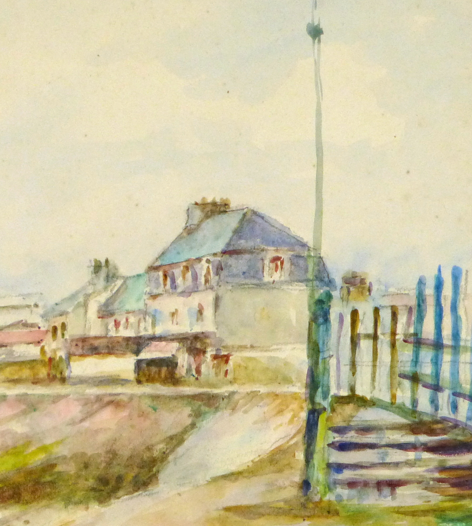 Watercolor Landscape - Beachside Town, Circa 1930-detail-8894K
