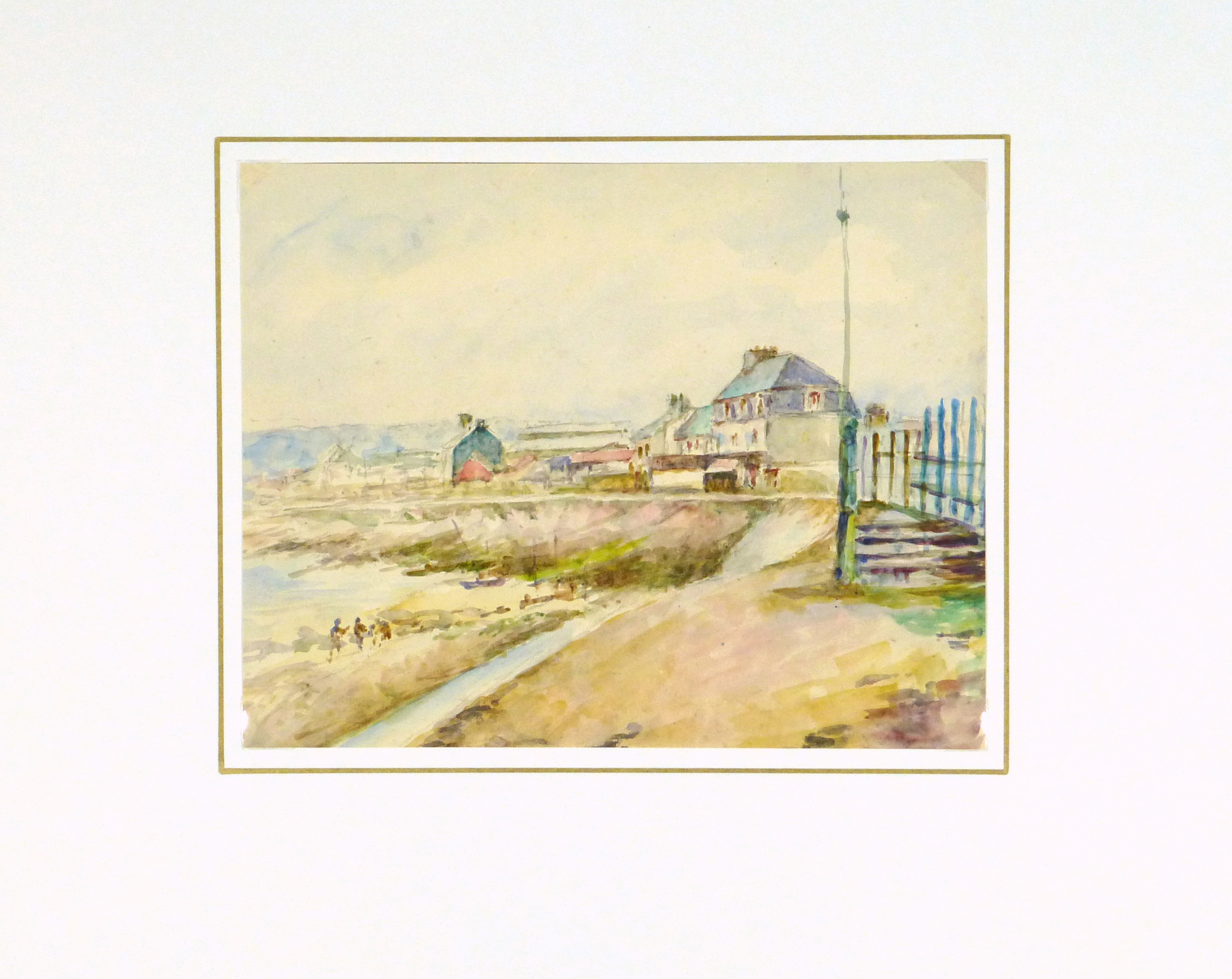 Watercolor Landscape - Beachside Town, Circa 1930-matted-8894K