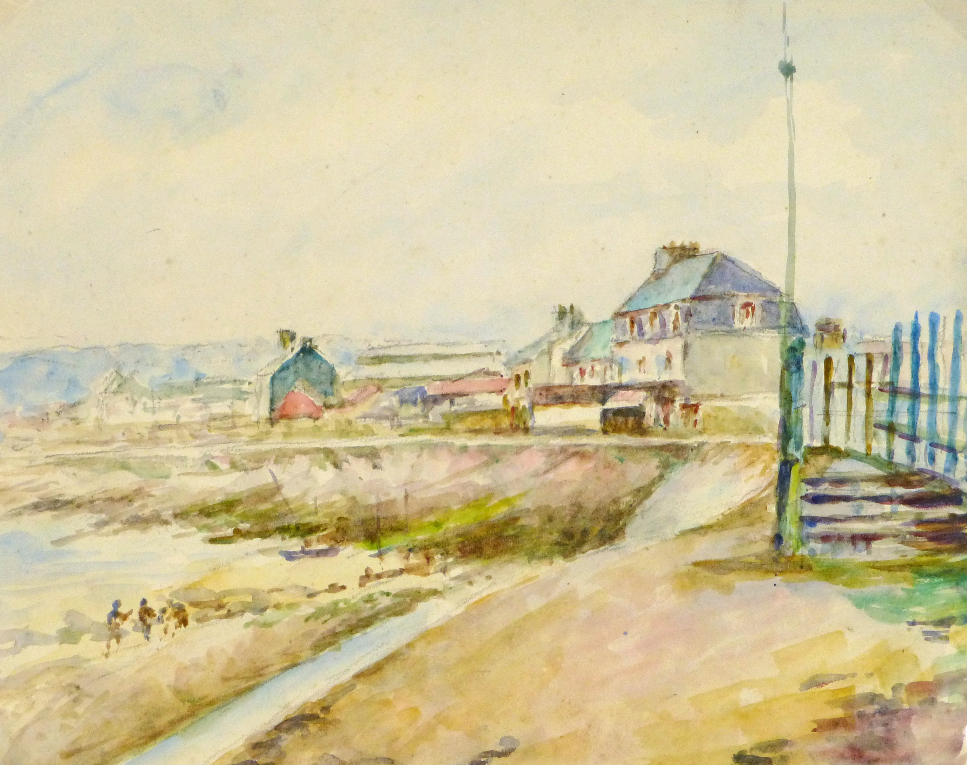 Watercolor Landscape - Beachside Town, Circa 1930-main-8894K