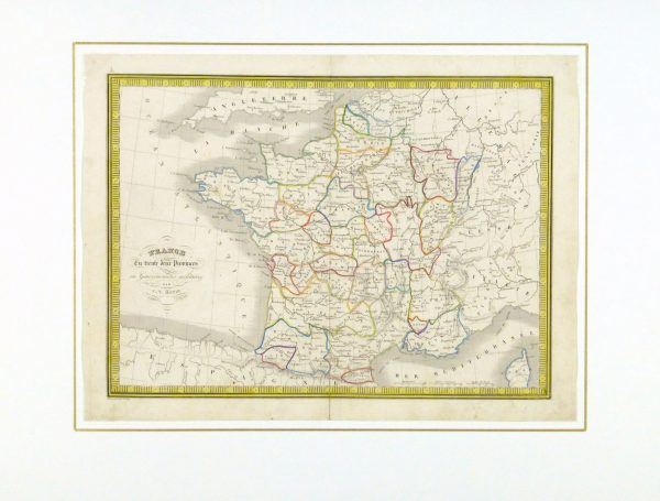 France Map, 1842-matted-8983K