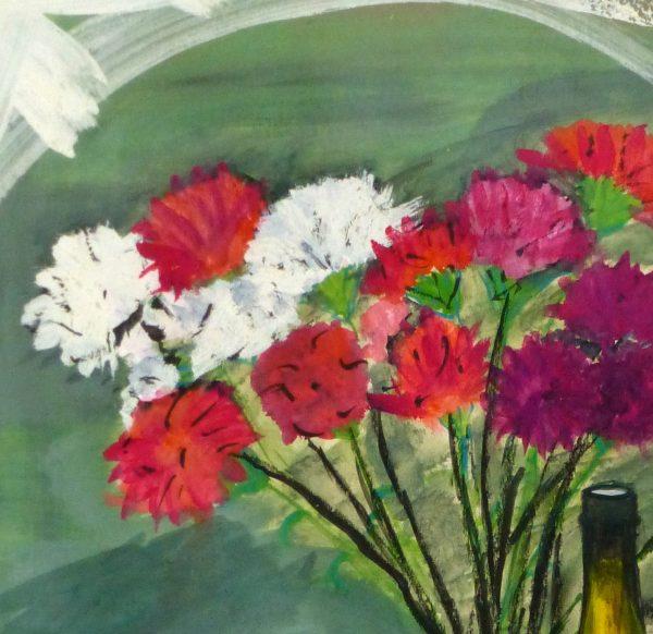 Watercolor Still Life - Champagne & Silver, circa 1950-detail-8986K