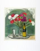 Watercolor Still Life - Champagne & Silver, circa 1950-matted-8986K