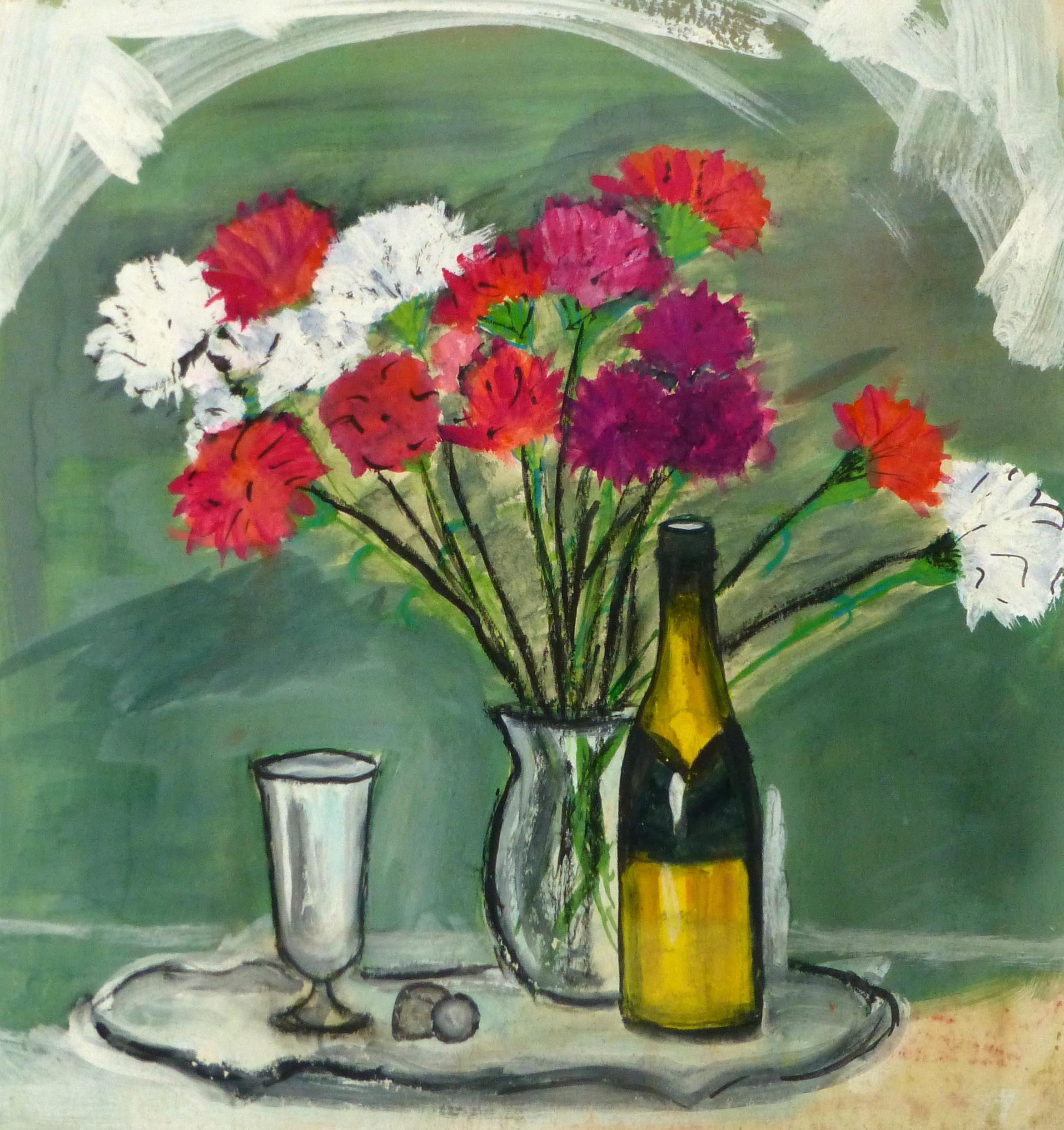 Watercolor Still Life - Champagne & Silver, circa 1950-main-8986K