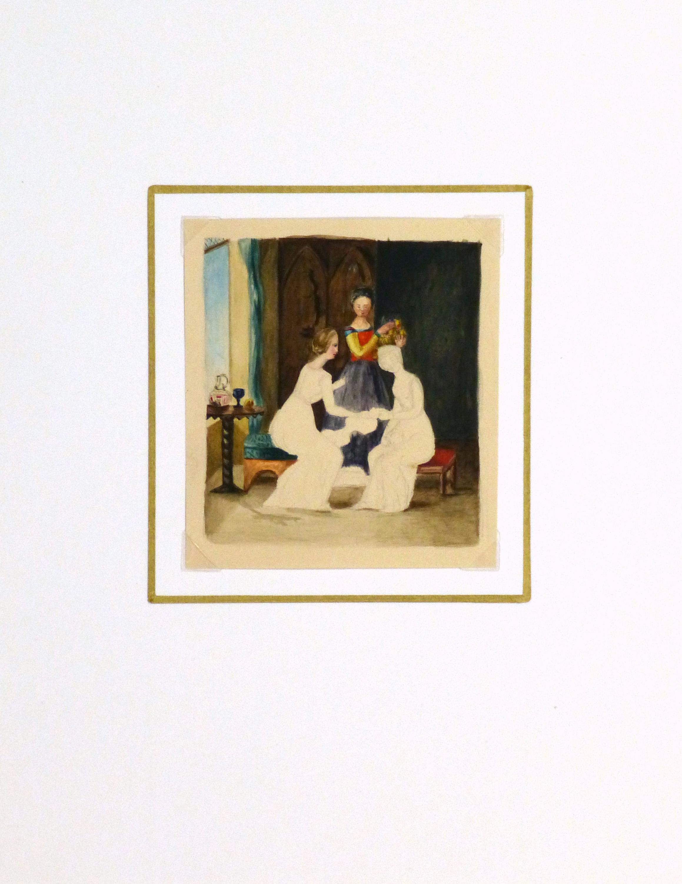 Watercolor - Ladies, Circa 1870-matted-9118K