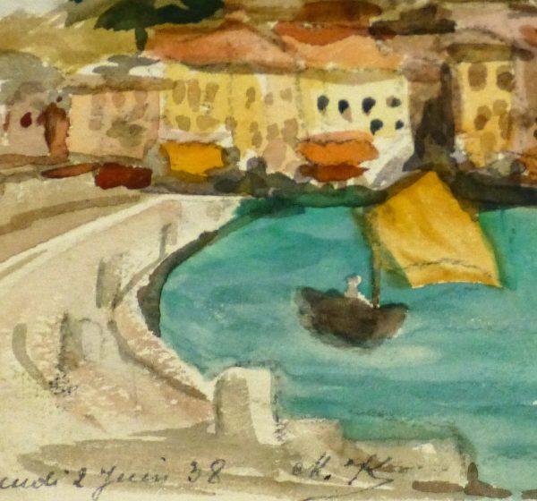 Watercolor - St. Tropez, 1938-detail 2-9124K