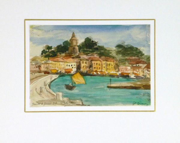 Watercolor - St. Tropez, 1938-Matted-9124K