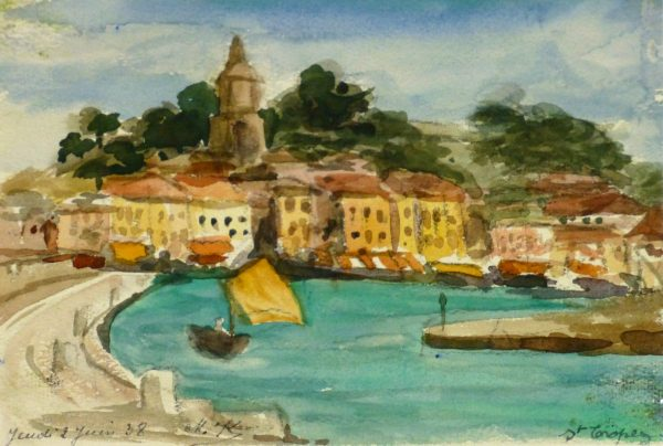 Watercolor - St. Tropez, 1938-MAIN-9124K