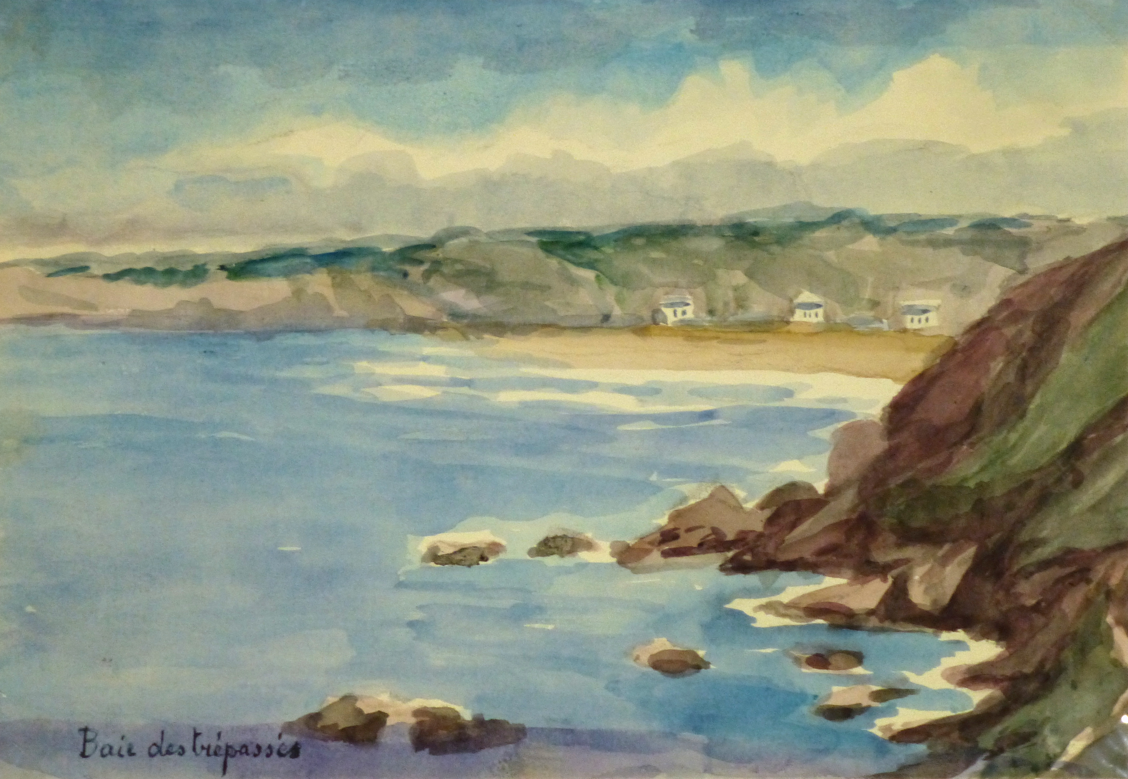 Watercolor Seascape - Brittany France, Circa 1935-main-9125K
