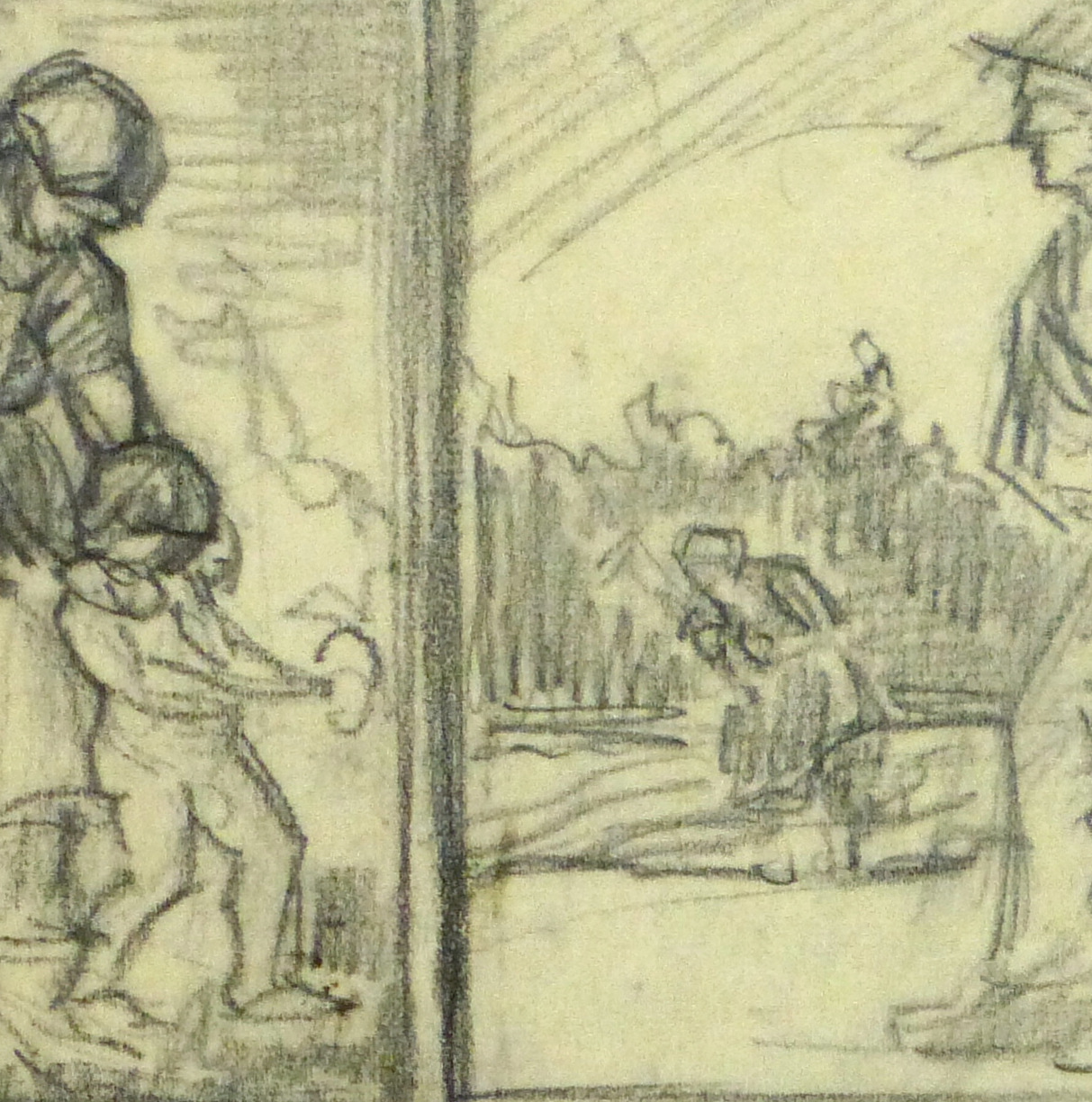 Drawing- Expressive Triptych, Circa 1930-detail 2-9212K